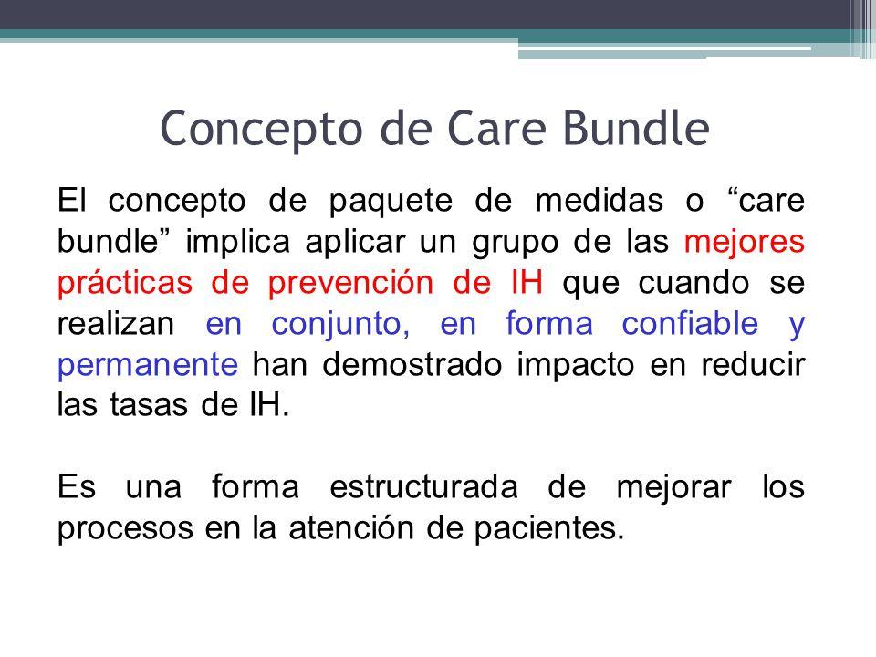 El concepto de paquete de medidas o care bundle implica aplicar un grupo de las mejores prácticas de prevención de IH que cuando se realizan en conjun