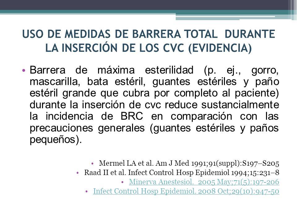 USO DE MEDIDAS DE BARRERA TOTAL DURANTE LA INSERCIÓN DE LOS CVC (EVIDENCIA) Barrera de máxima esterilidad (p. ej., gorro, mascarilla, bata estéril, gu