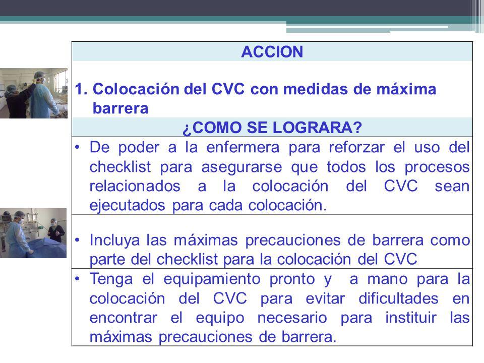 ACCION 1.Colocación del CVC con medidas de máxima barrera ¿COMO SE LOGRARA? De poder a la enfermera para reforzar el uso del checklist para asegurarse
