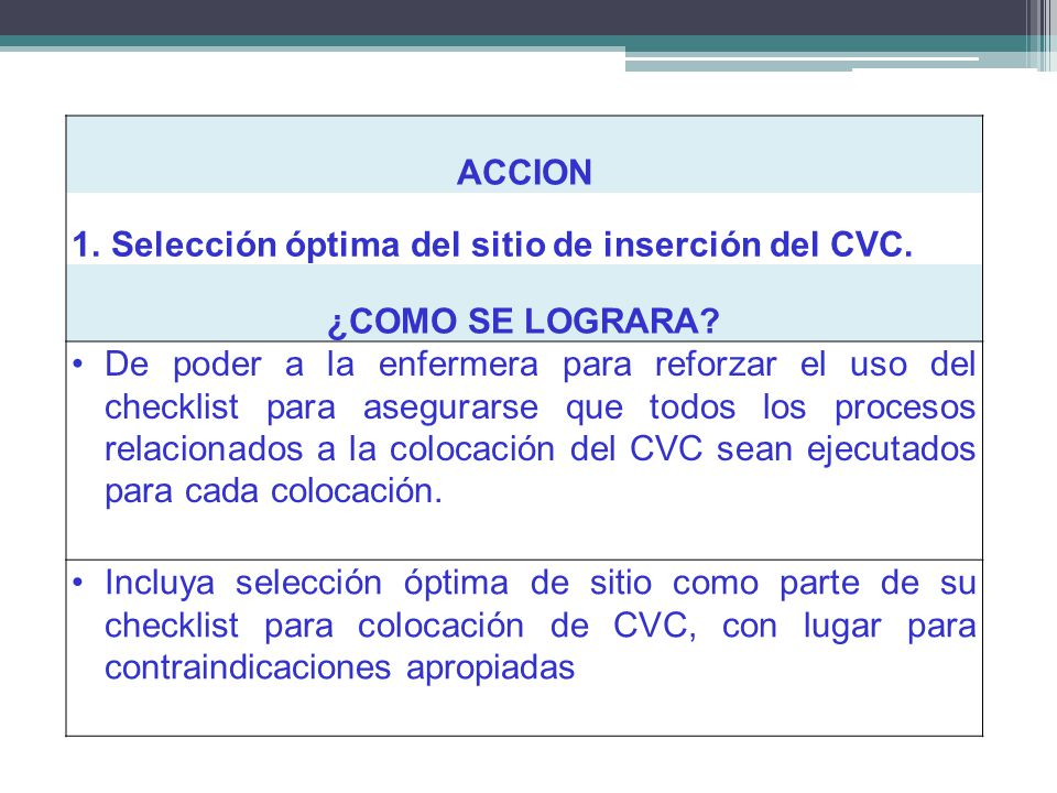 ACCION 1.Selección óptima del sitio de inserción del CVC. ¿COMO SE LOGRARA? De poder a la enfermera para reforzar el uso del checklist para asegurarse