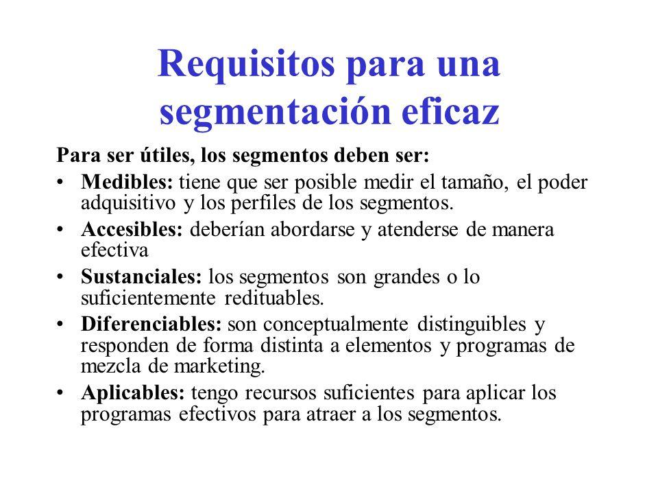 Requisitos para una segmentación eficaz Para ser útiles, los segmentos deben ser: Medibles: tiene que ser posible medir el tamaño, el poder adquisitiv