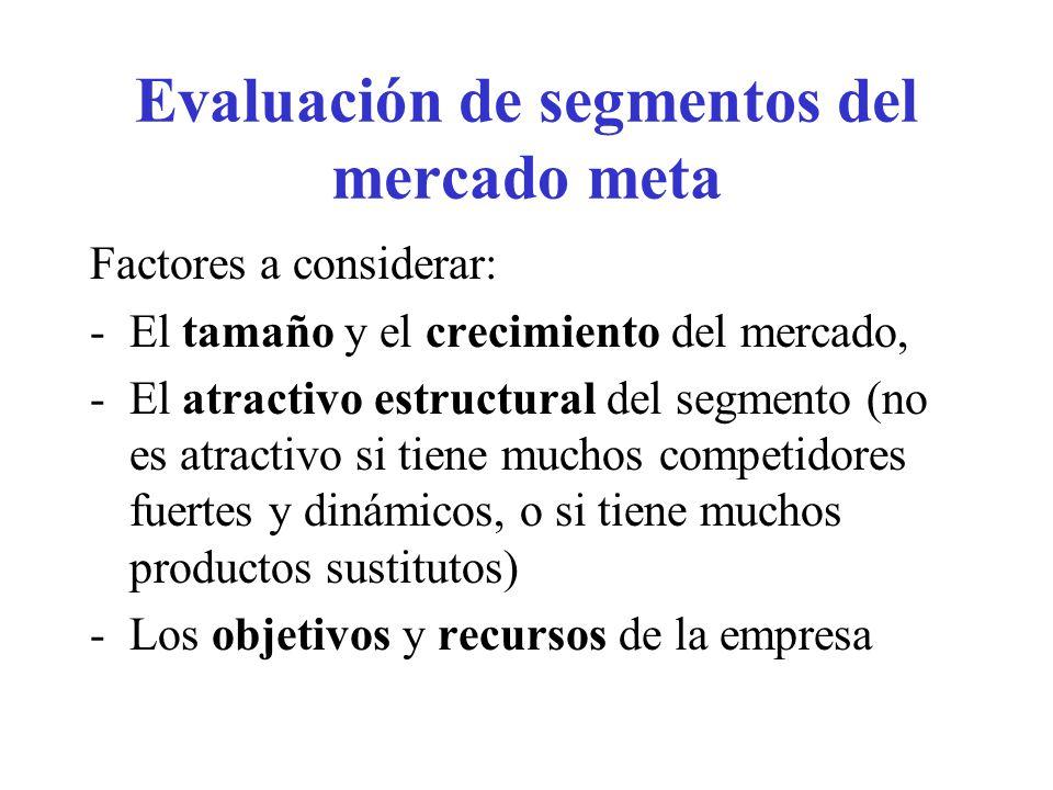 Evaluación de segmentos del mercado meta Factores a considerar: -El tamaño y el crecimiento del mercado, -El atractivo estructural del segmento (no es