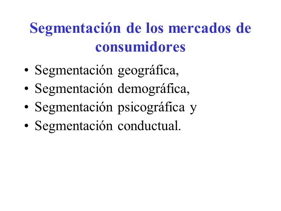 Segmentación de los mercados de consumidores Segmentación geográfica, Segmentación demográfica, Segmentación psicográfica y Segmentación conductual.