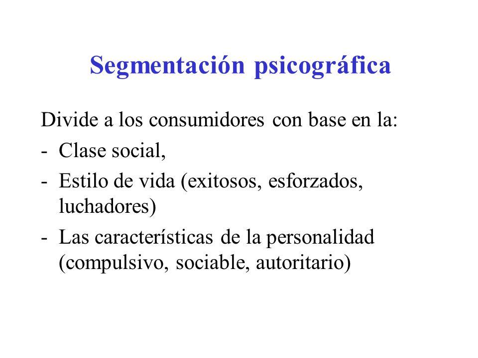 Segmentación psicográfica Divide a los consumidores con base en la: -Clase social, -Estilo de vida (exitosos, esforzados, luchadores) -Las característ