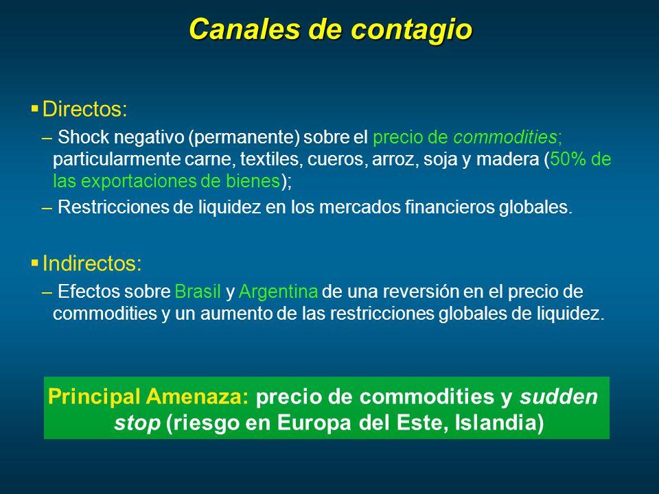 Canales de contagio Directos: – Shock negativo (permanente) sobre el precio de commodities; particularmente carne, textiles, cueros, arroz, soja y madera (50% de las exportaciones de bienes); – Restricciones de liquidez en los mercados financieros globales.