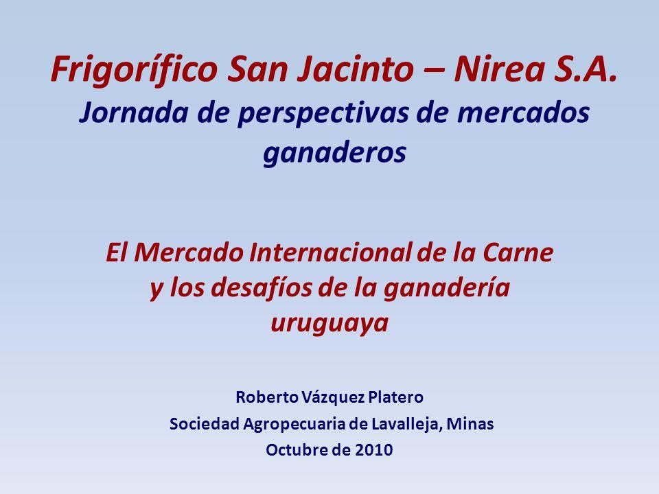 Frigorífico San Jacinto – Nirea S.A. Jornada de perspectivas de mercados ganaderos El Mercado Internacional de la Carne y los desafíos de la ganadería
