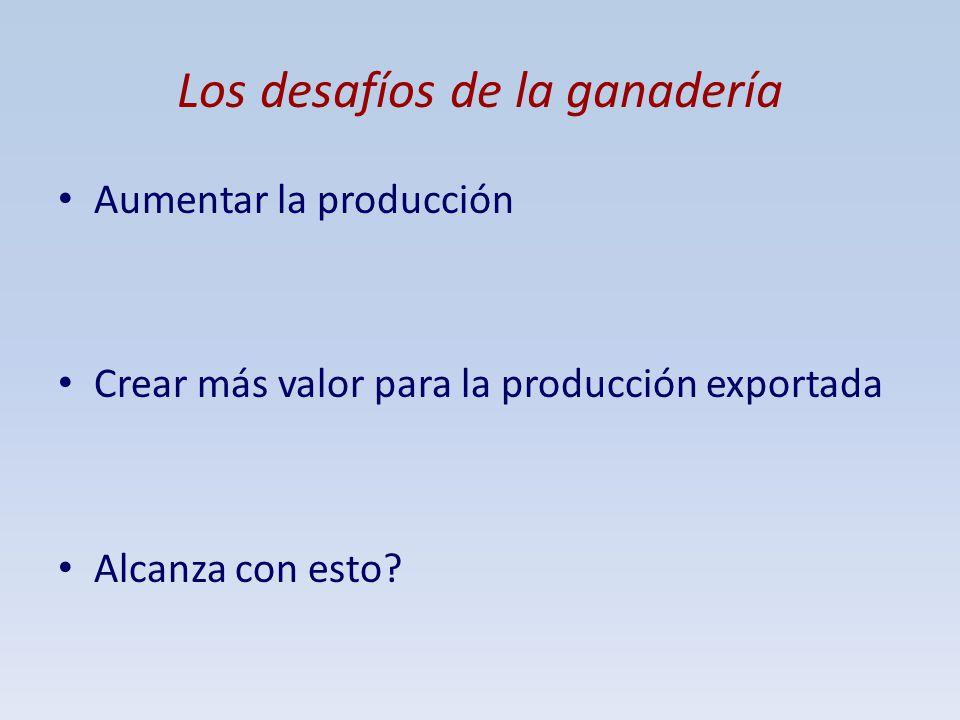 Los desafíos de la ganadería Aumentar la producción Crear más valor para la producción exportada Alcanza con esto?