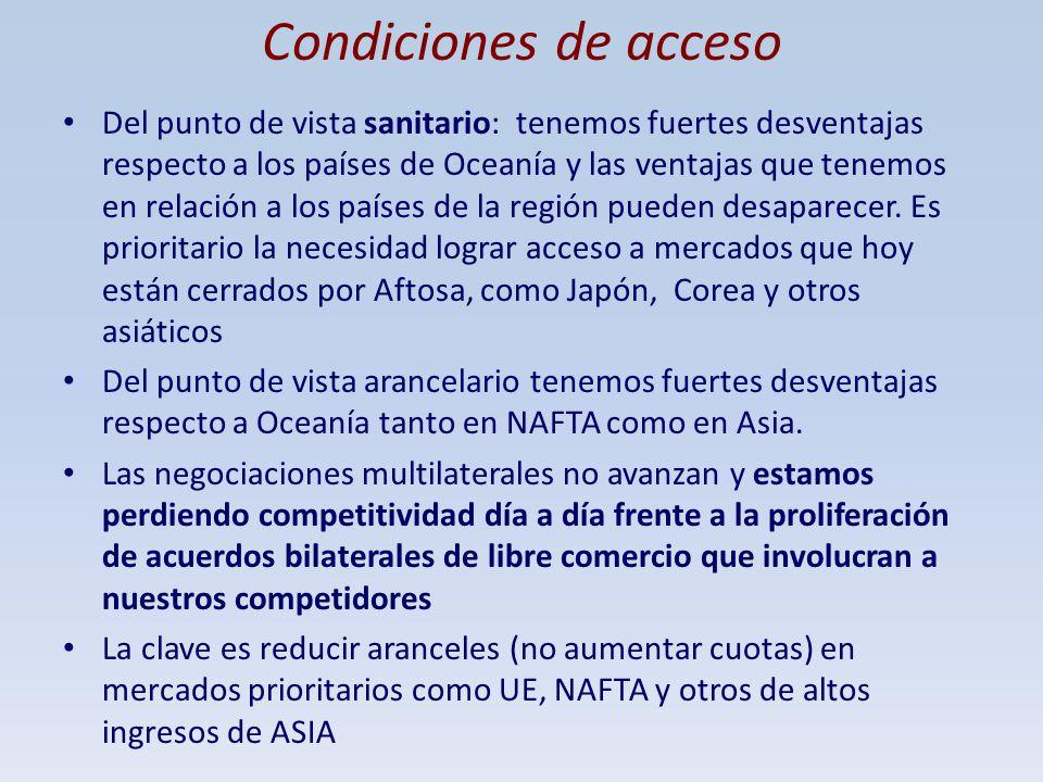 Condiciones de acceso Del punto de vista sanitario: tenemos fuertes desventajas respecto a los países de Oceanía y las ventajas que tenemos en relació