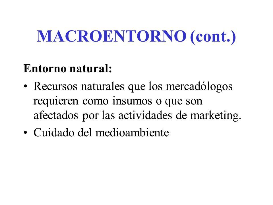 MACROENTORNO (cont.) Entorno natural: Recursos naturales que los mercadólogos requieren como insumos o que son afectados por las actividades de marketing.