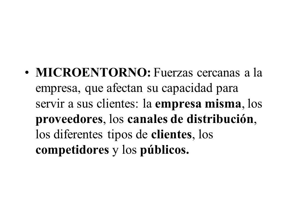 MICROENTORNO: Fuerzas cercanas a la empresa, que afectan su capacidad para servir a sus clientes: la empresa misma, los proveedores, los canales de di
