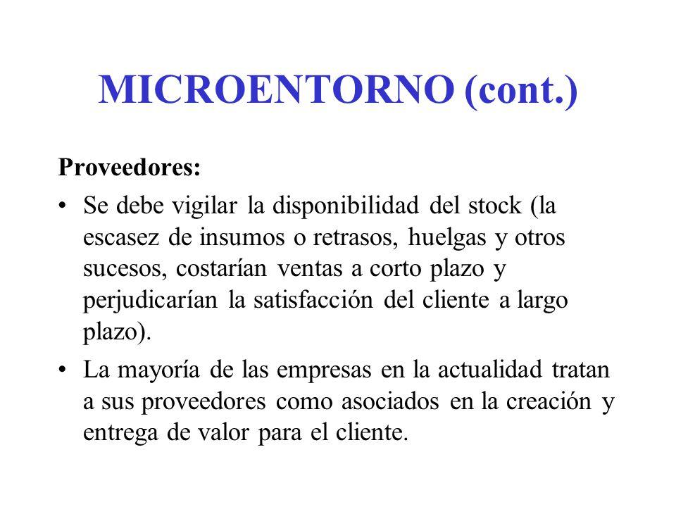 MICROENTORNO (cont.) Canales de distribución: Son empresas que ayudan a la compañía a promover, vender y distribuir sus productos a los compradores finales; incluyen distribuidores, empresas de distribución física, agencias de servicios de merketing e intermediarios financieros