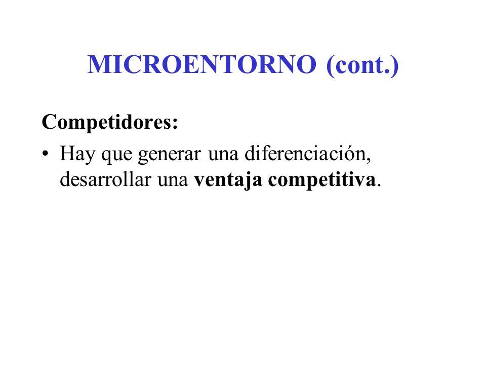 MICROENTORNO (cont.) Públicos: Públicos financieros: influyen en la capacidad de la empresa para obtener fondos.