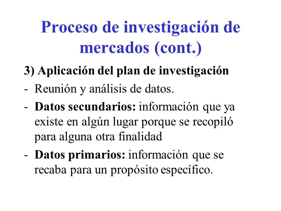 Proceso de investigación de mercados (cont.) 3) Aplicación del plan de investigación -Reunión y análisis de datos. -Datos secundarios: información que