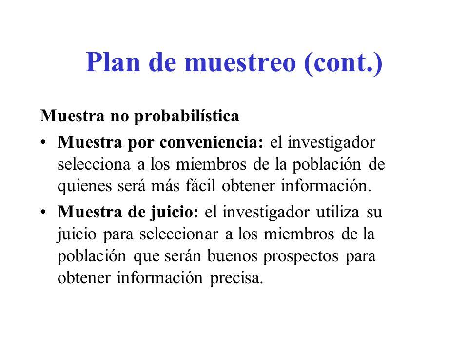 Plan de muestreo (cont.) Muestra no probabilística Muestra por conveniencia: el investigador selecciona a los miembros de la población de quienes será
