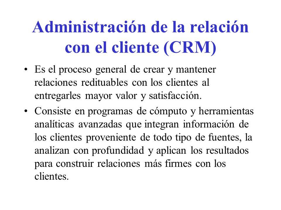Administración de la relación con el cliente (CRM) Es el proceso general de crear y mantener relaciones redituables con los clientes al entregarles ma
