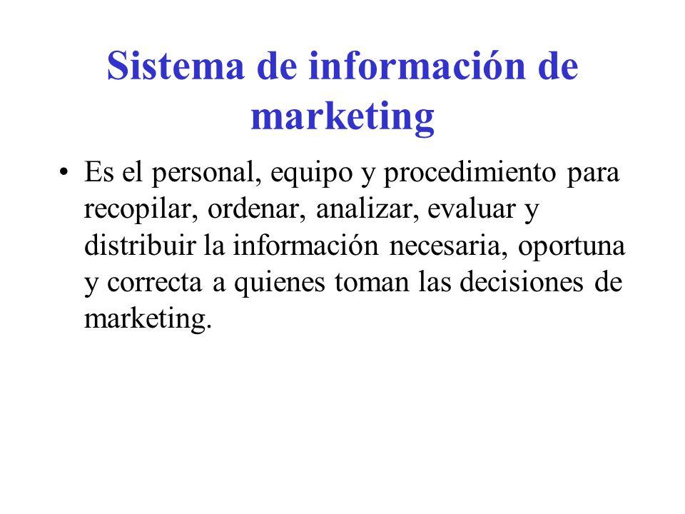 Sistema de información de marketing Es el personal, equipo y procedimiento para recopilar, ordenar, analizar, evaluar y distribuir la información nece