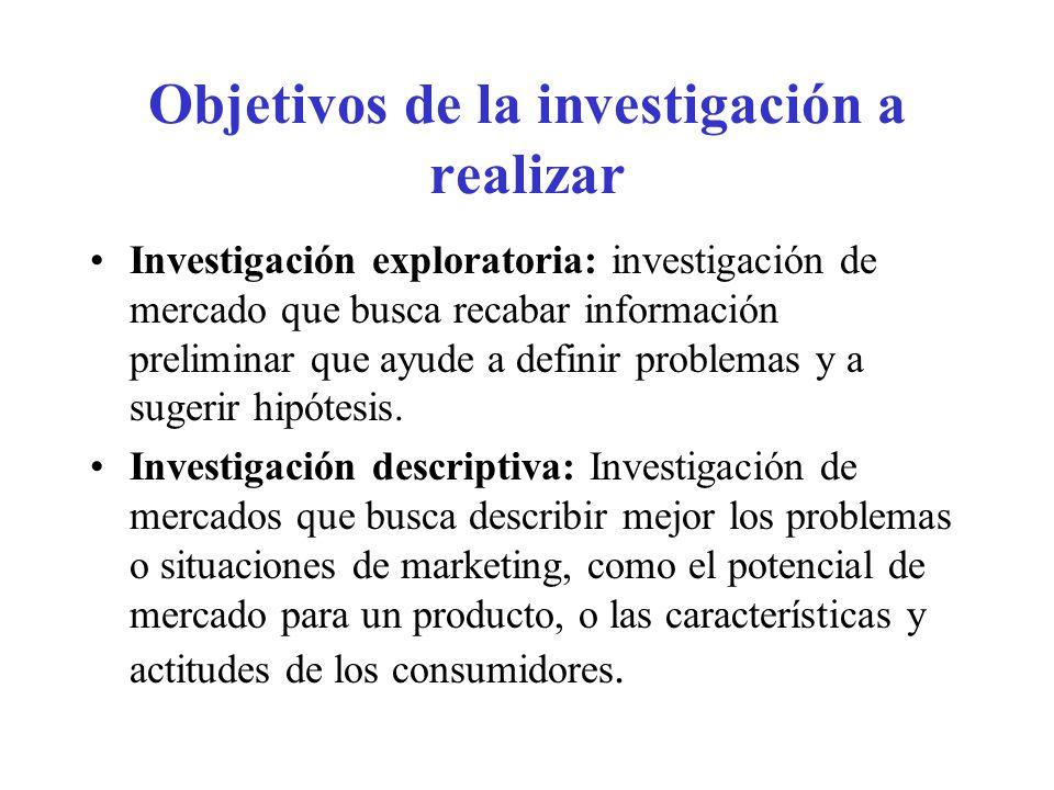 Objetivos de la investigación a realizar (cont.) Investigación causal: investigación de mercados que busca probar hipótesis acerca de las relaciones causa efecto.