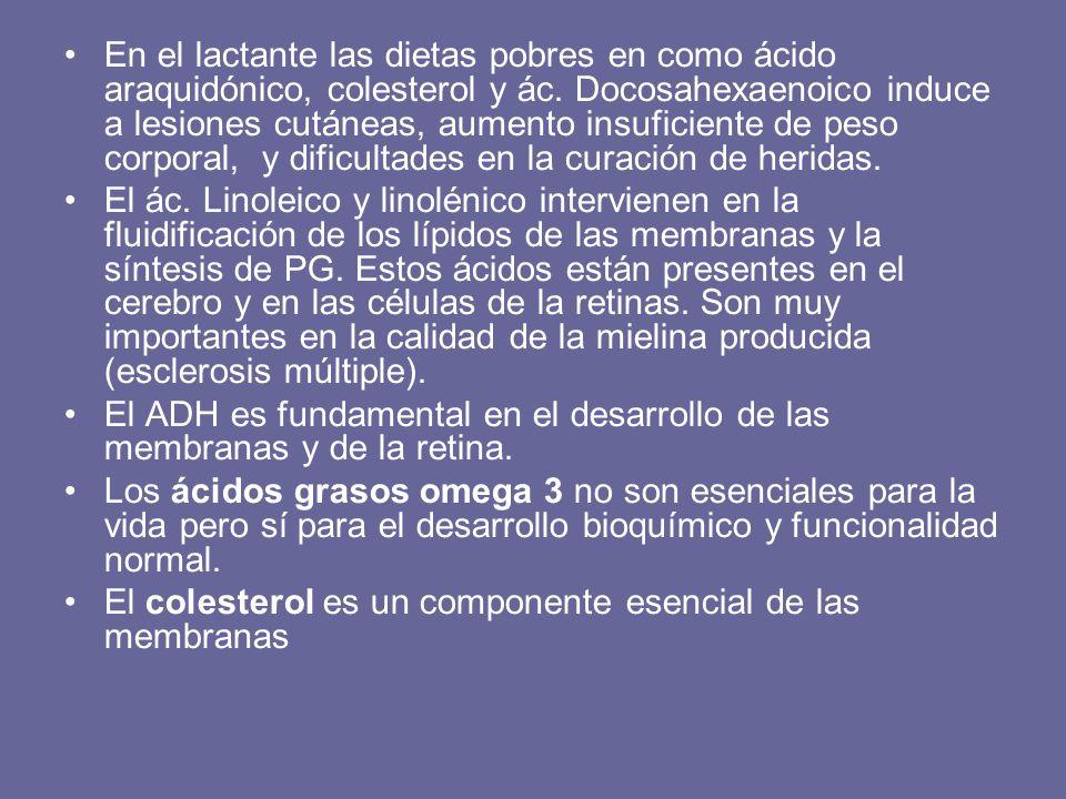 En el lactante las dietas pobres en como ácido araquidónico, colesterol y ác. Docosahexaenoico induce a lesiones cutáneas, aumento insuficiente de pes