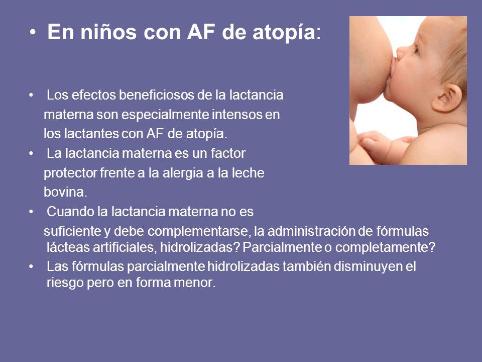 En niños con AF de atopía: Los efectos beneficiosos de la lactancia materna son especialmente intensos en los lactantes con AF de atopía. La lactancia