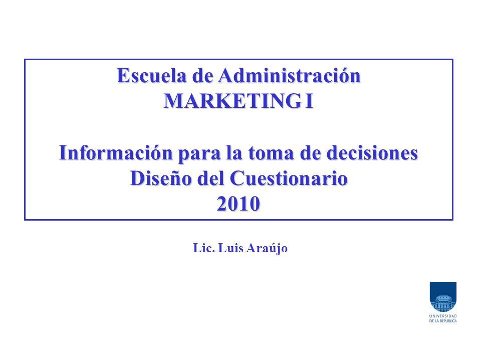 Escuela de Administración MARKETING I Información para la toma de decisiones Diseño del Cuestionario 2010 Lic.