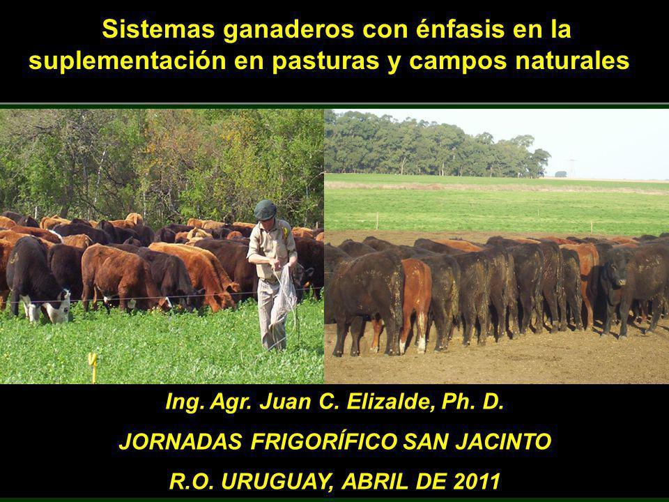 Sistemas ganaderos con énfasis en la suplementación en pasturas y campos naturales Ing. Agr. Juan C. Elizalde, Ph. D. JORNADAS FRIGORÍFICO SAN JACINTO
