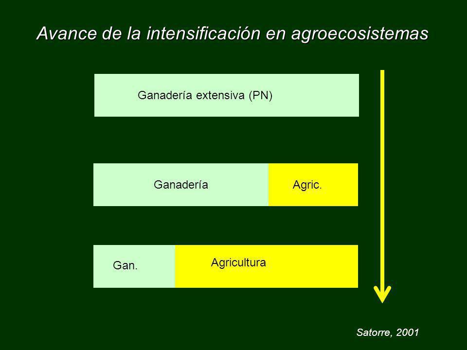 Avance de la intensificación en agroecosistemas Ganadería extensiva (PN)GanaderíaAgric. Gan. Agricultura Satorre, 2001
