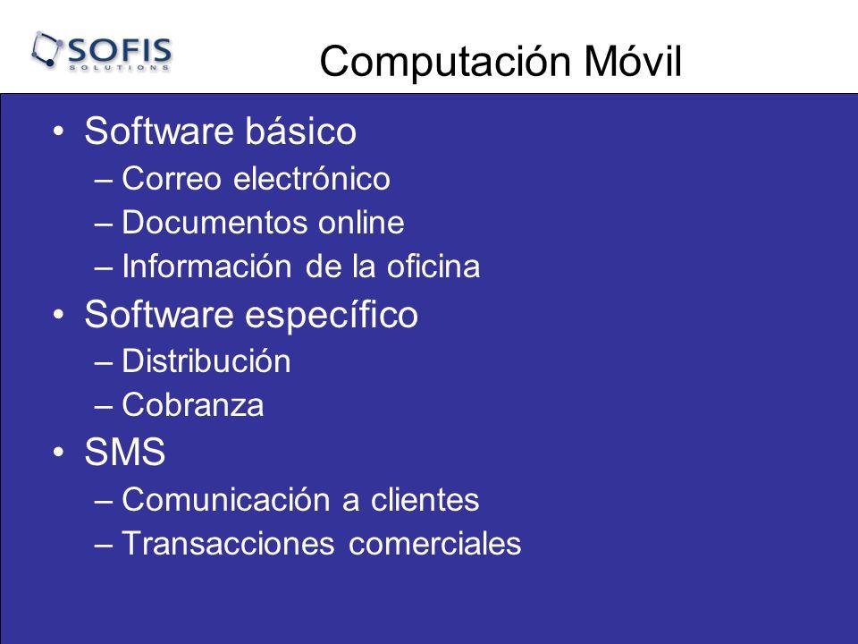 Computación Móvil Software básico –Correo electrónico –Documentos online –Información de la oficina Software específico –Distribución –Cobranza SMS –Comunicación a clientes –Transacciones comerciales
