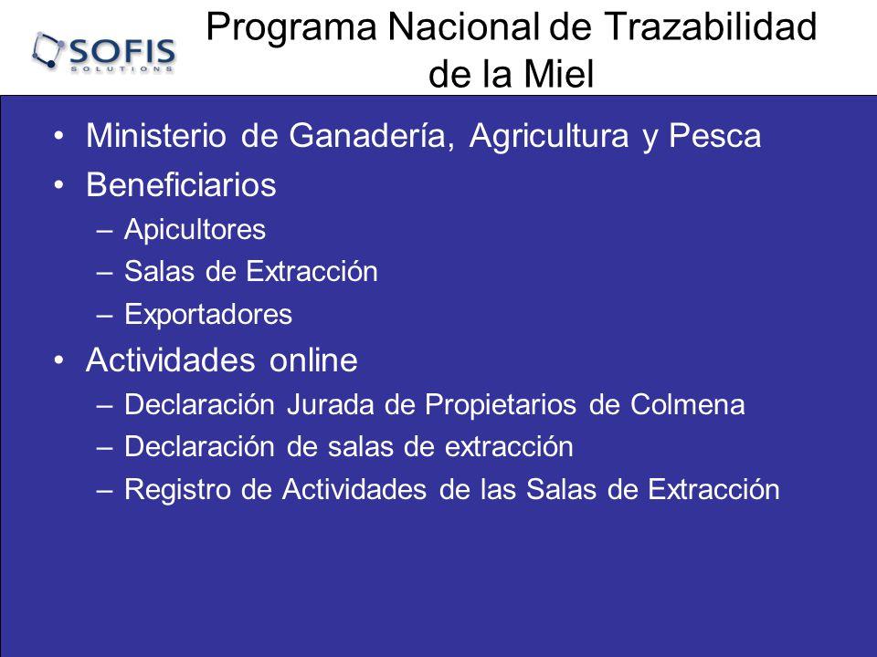 Programa Nacional de Trazabilidad de la Miel Sistema de Trazabilidad