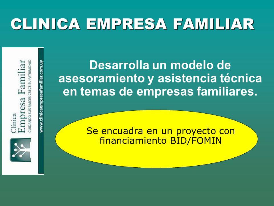 CLINICA EMPRESA FAMILIAR Desarrolla un modelo de asesoramiento y asistencia técnica en temas de empresas familiares. Se encuadra en un proyecto con fi