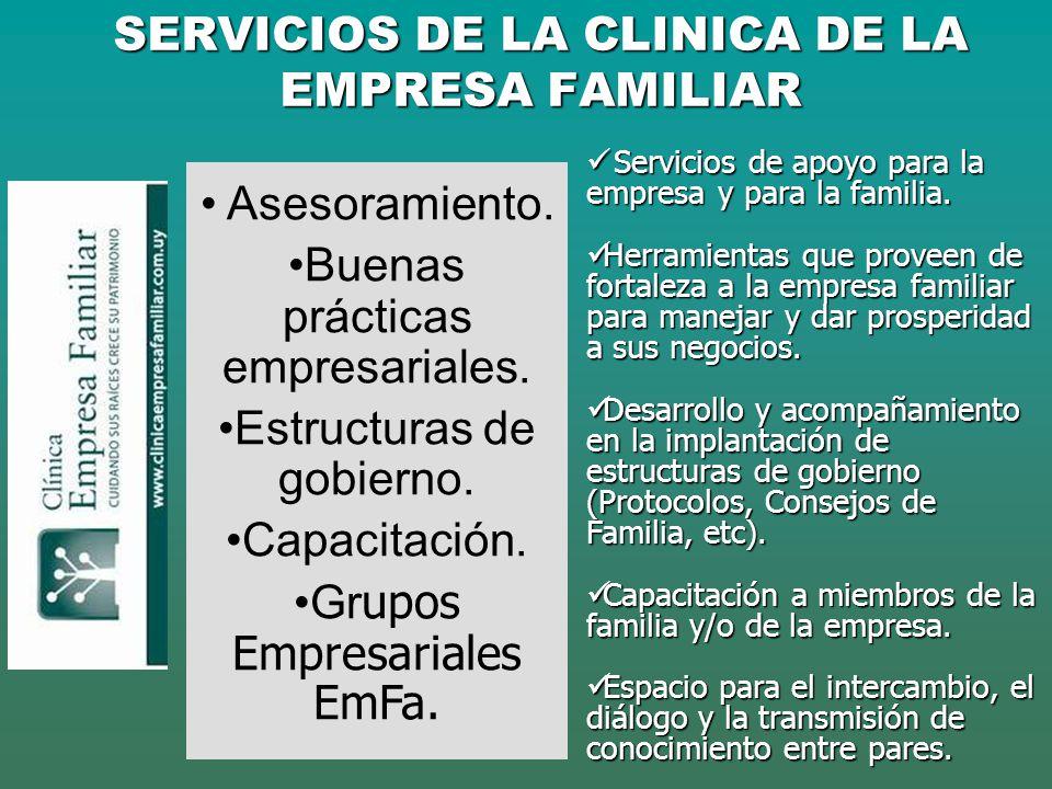 SERVICIOS DE LA CLINICA DE LA EMPRESA FAMILIAR Asesoramiento. Buenas prácticas empresariales. Estructuras de gobierno. Capacitación. Gr upos Empresari