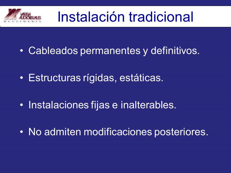 Instalación tradicional Cableados permanentes y definitivos. Estructuras rígidas, estáticas. Instalaciones fijas e inalterables. No admiten modificaci