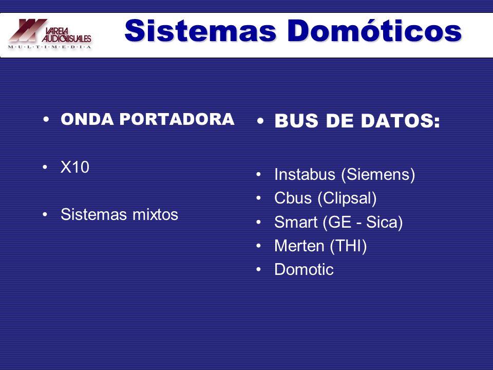 ONDA PORTADORA X10 Sistemas mixtos BUS DE DATOS: Instabus (Siemens) Cbus (Clipsal) Smart (GE - Sica) Merten (THI) Domotic Sistemas Domóticos
