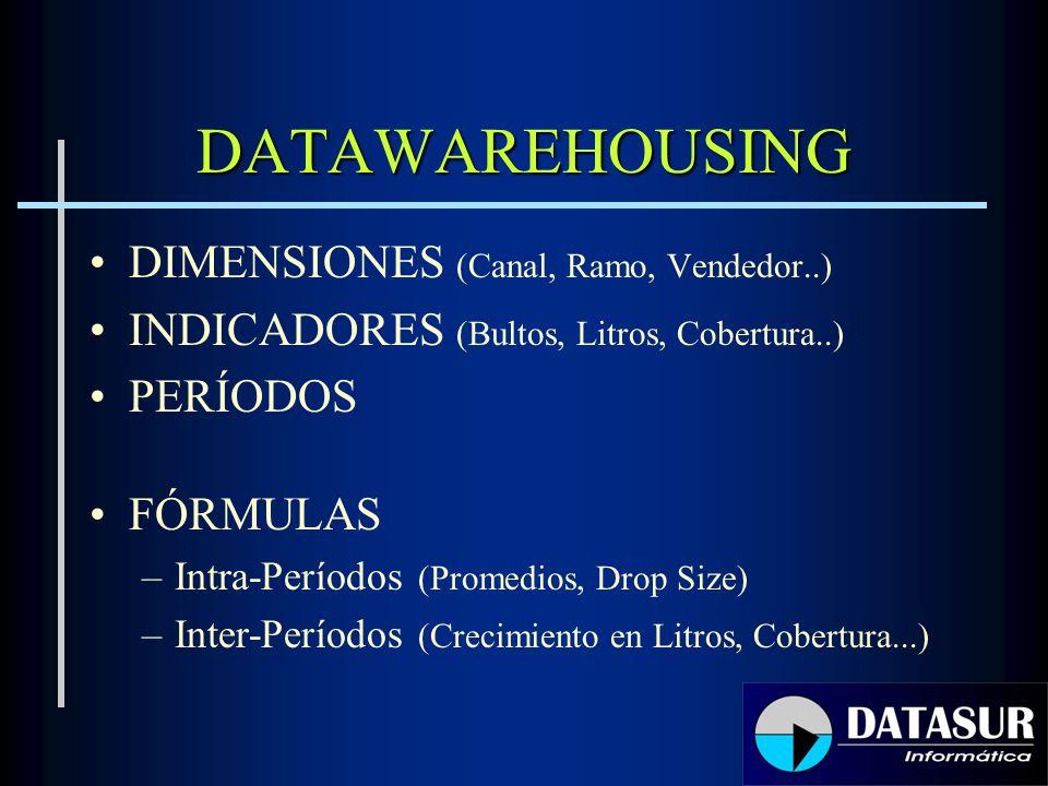 DATAWAREHOUSING DIMENSIONES (Canal, Ramo, Vendedor..) INDICADORES (Bultos, Litros, Cobertura..) PERÍODOS FÓRMULAS –Intra-Períodos (Promedios, Drop Siz