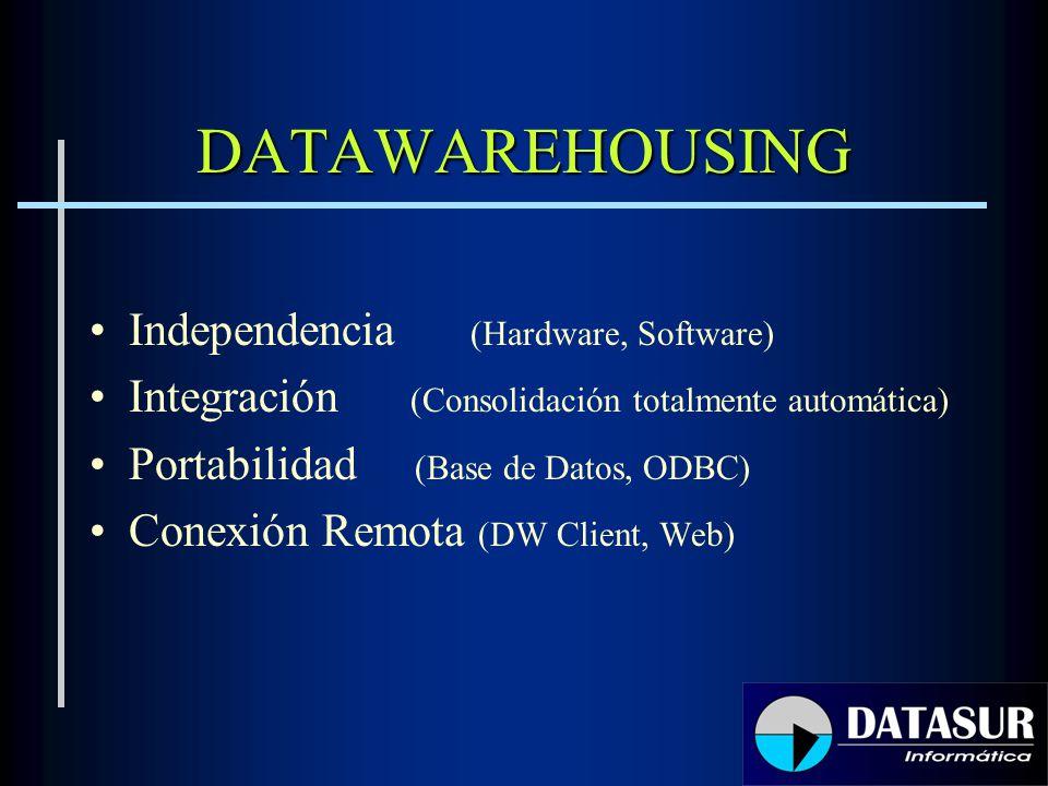 DATAWAREHOUSING Independencia (Hardware, Software) Integración (Consolidación totalmente automática) Portabilidad (Base de Datos, ODBC) Conexión Remota (DW Client, Web)