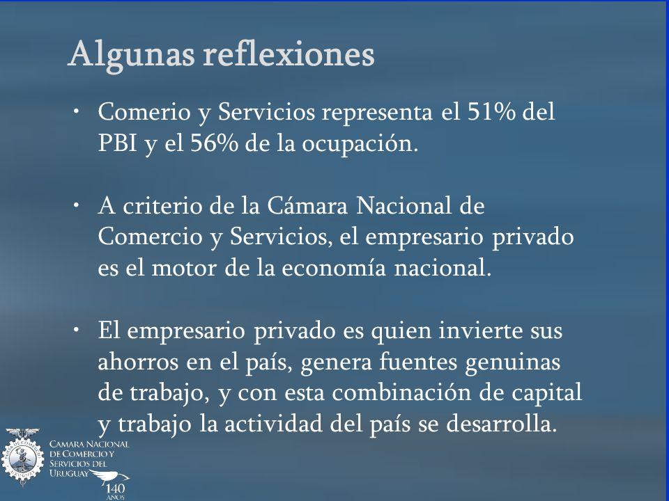 Algunas reflexiones Comerio y Servicios representa el 51% del PBI y el 56% de la ocupación. A criterio de la Cámara Nacional de Comercio y Servicios,