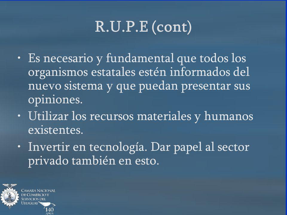 R.U.P.E (cont) Es necesario y fundamental que todos los organismos estatales estén informados del nuevo sistema y que puedan presentar sus opiniones.