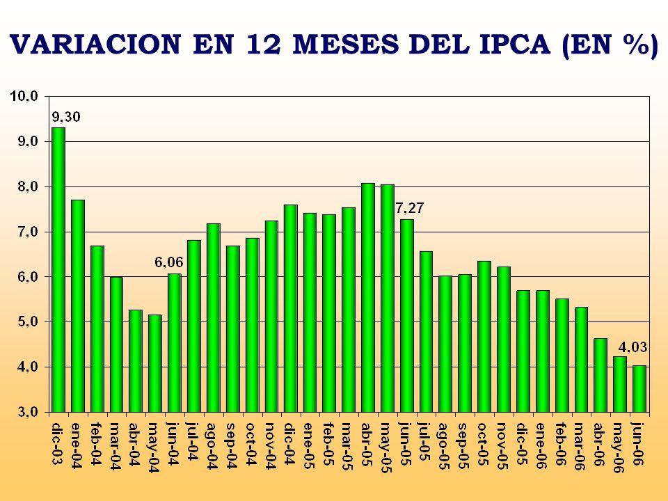 VARIACION EN 12 MESES DEL IPCA (EN %)