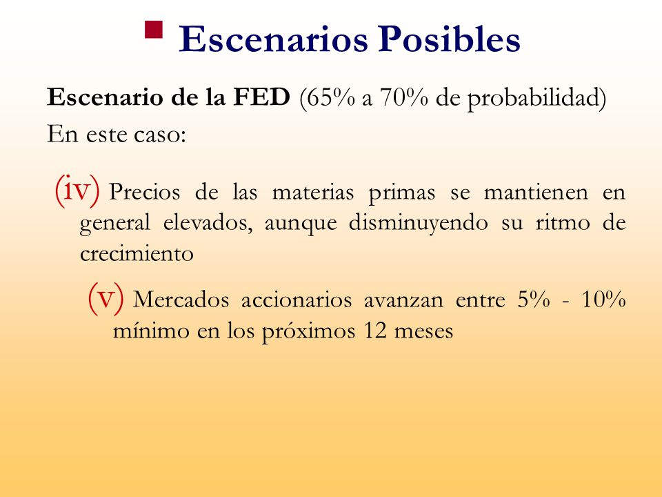 Escenario de la FED (65% a 70% de probabilidad) En este caso: (iv) Precios de las materias primas se mantienen en general elevados, aunque disminuyendo su ritmo de crecimiento (v) Mercados accionarios avanzan entre 5% - 10% mínimo en los próximos 12 meses Escenarios Posibles