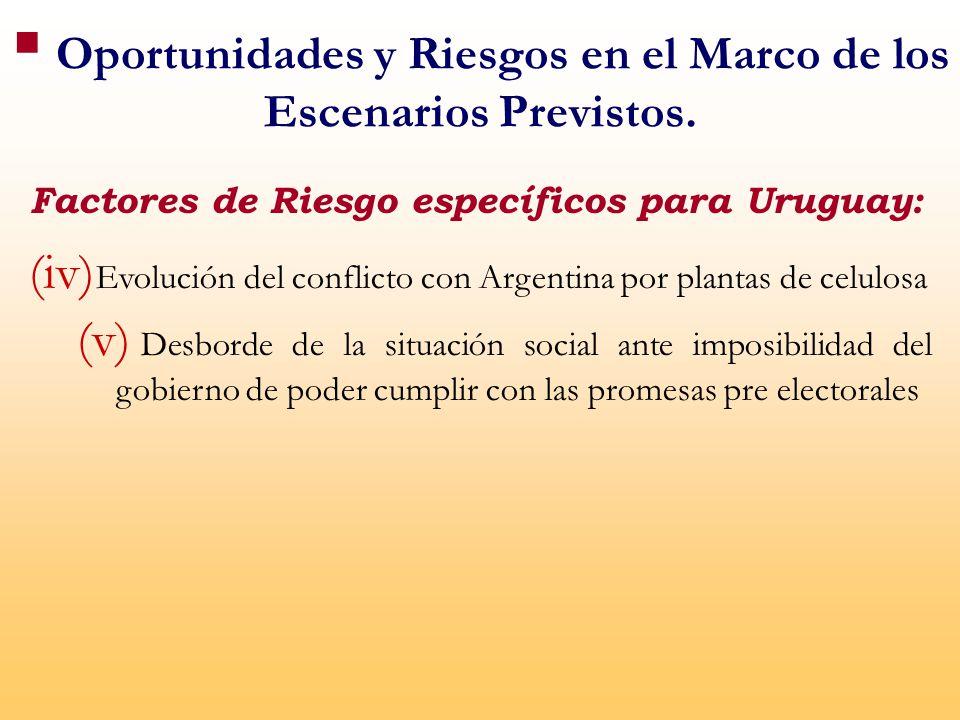 Factores de Riesgo específicos para Uruguay: (iv) Evolución del conflicto con Argentina por plantas de celulosa (v) Desborde de la situación social ante imposibilidad del gobierno de poder cumplir con las promesas pre electorales Oportunidades y Riesgos en el Marco de los Escenarios Previstos.