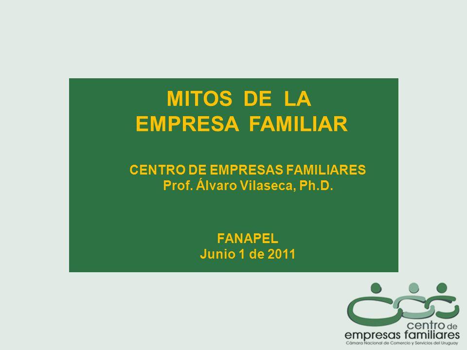 MITOS DE LA EMPRESA FAMILIAR CENTRO DE EMPRESAS FAMILIARES Prof.