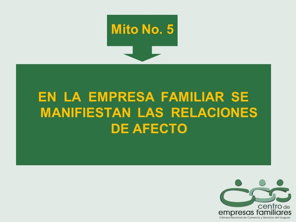 Mito No. 5 EN LA EMPRESA FAMILIAR SE MANIFIESTAN LAS RELACIONES DE AFECTO