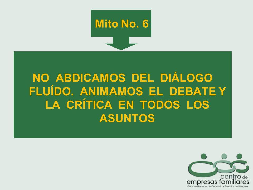 Mito No. 6 NO ABDICAMOS DEL DIÁLOGO FLUÍDO. ANIMAMOS EL DEBATE Y LA CRÍTICA EN TODOS LOS ASUNTOS