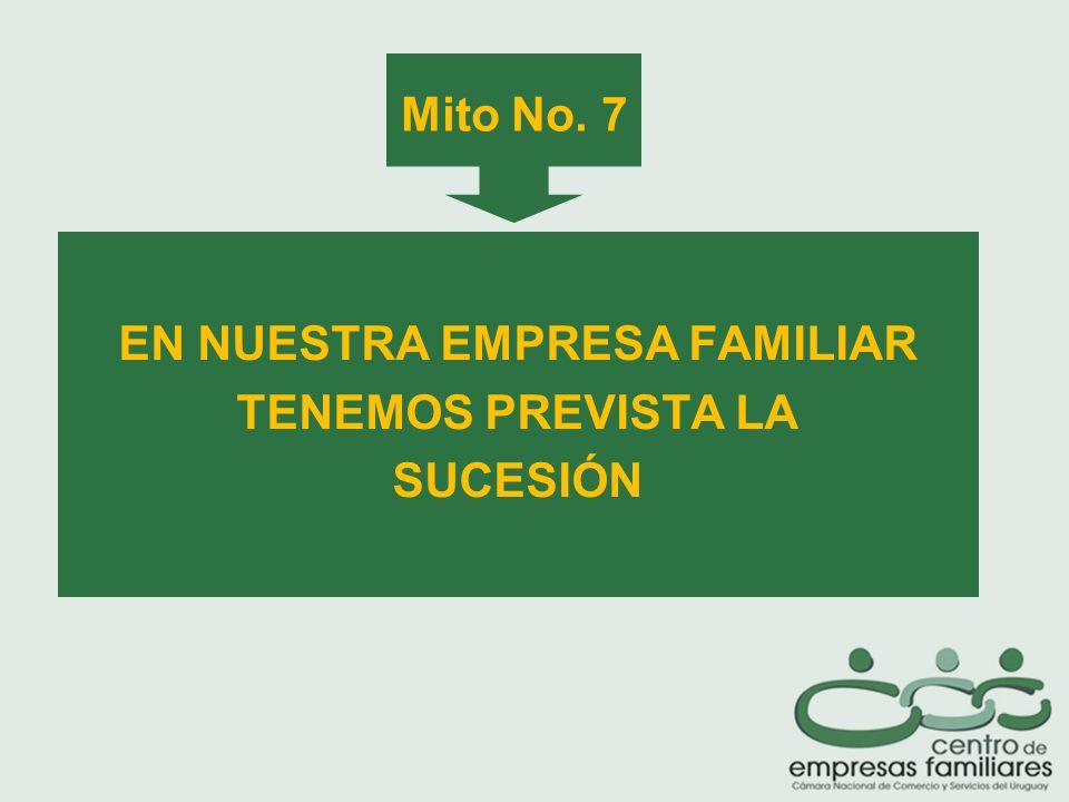 Mito No. 7 EN NUESTRA EMPRESA FAMILIAR TENEMOS PREVISTA LA SUCESIÓN