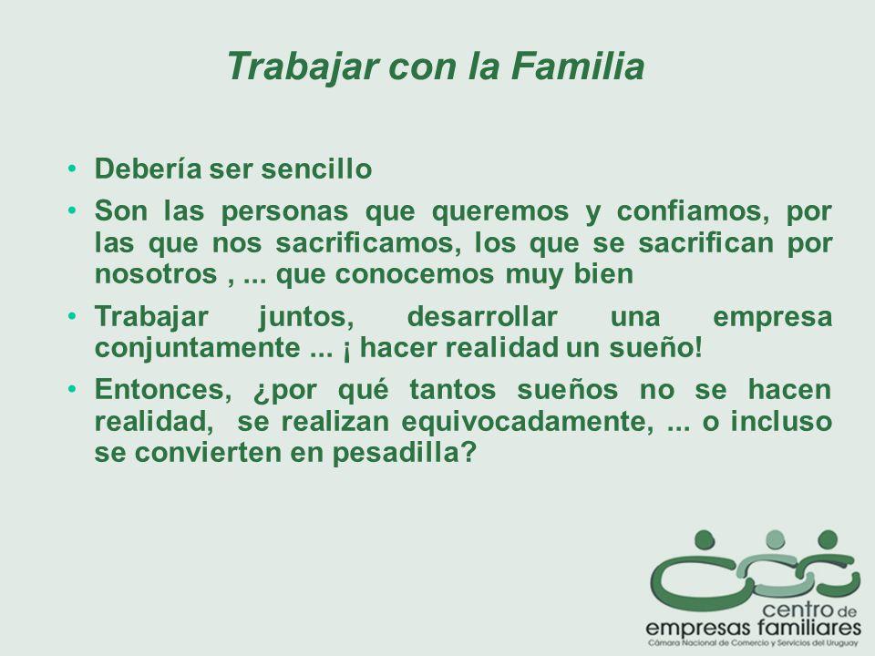 Trabajar con la Familia Debería ser sencillo Son las personas que queremos y confiamos, por las que nos sacrificamos, los que se sacrifican por nosotros,...