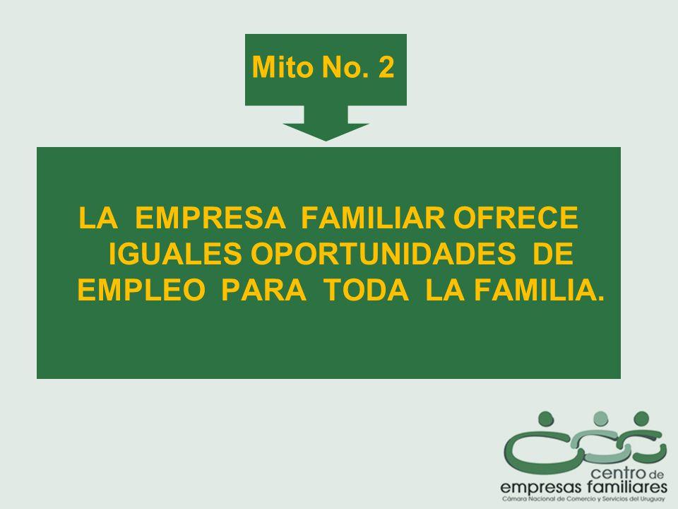 LA EMPRESA FAMILIAR OFRECE IGUALES OPORTUNIDADES DE EMPLEO PARA TODA LA FAMILIA. Mito No. 2