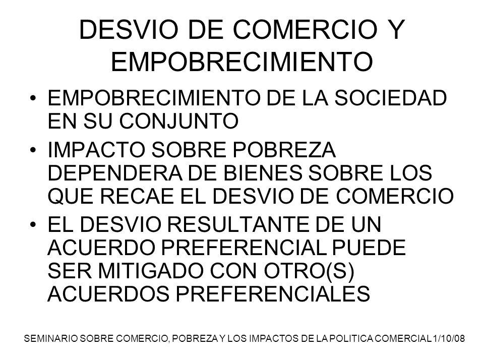 SEMINARIO SOBRE COMERCIO, POBREZA Y LOS IMPACTOS DE LA POLITICA COMERCIAL 1/10/08 DESVIO DE COMERCIO Y EMPOBRECIMIENTO EMPOBRECIMIENTO DE LA SOCIEDAD EN SU CONJUNTO IMPACTO SOBRE POBREZA DEPENDERA DE BIENES SOBRE LOS QUE RECAE EL DESVIO DE COMERCIO EL DESVIO RESULTANTE DE UN ACUERDO PREFERENCIAL PUEDE SER MITIGADO CON OTRO(S) ACUERDOS PREFERENCIALES