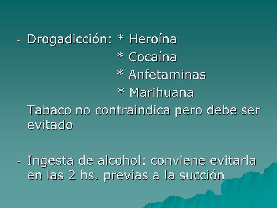 - Drogadicción: * Heroína * Cocaína * Cocaína * Anfetaminas * Anfetaminas * Marihuana * Marihuana Tabaco no contraindica pero debe ser evitado - Inges