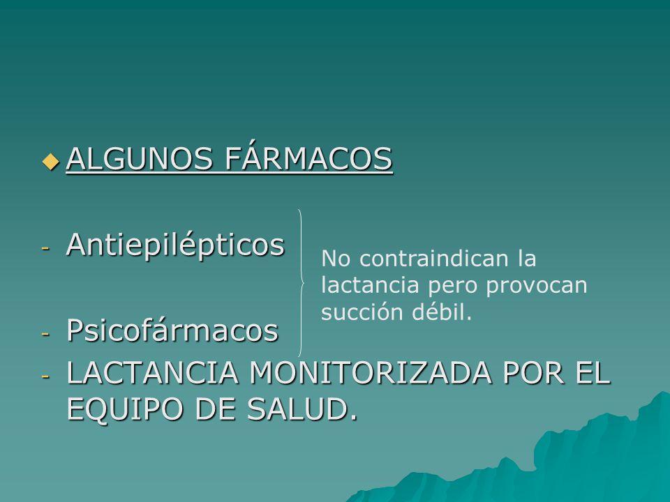 ALGUNOS FÁRMACOS ALGUNOS FÁRMACOS - Antiepilépticos - Psicofármacos - LACTANCIA MONITORIZADA POR EL EQUIPO DE SALUD. No contraindican la lactancia per