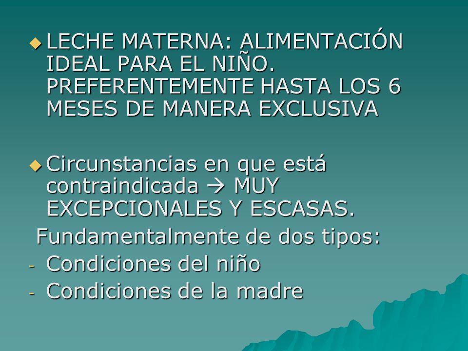 LECHE MATERNA: ALIMENTACIÓN IDEAL PARA EL NIÑO. PREFERENTEMENTE HASTA LOS 6 MESES DE MANERA EXCLUSIVA LECHE MATERNA: ALIMENTACIÓN IDEAL PARA EL NIÑO.