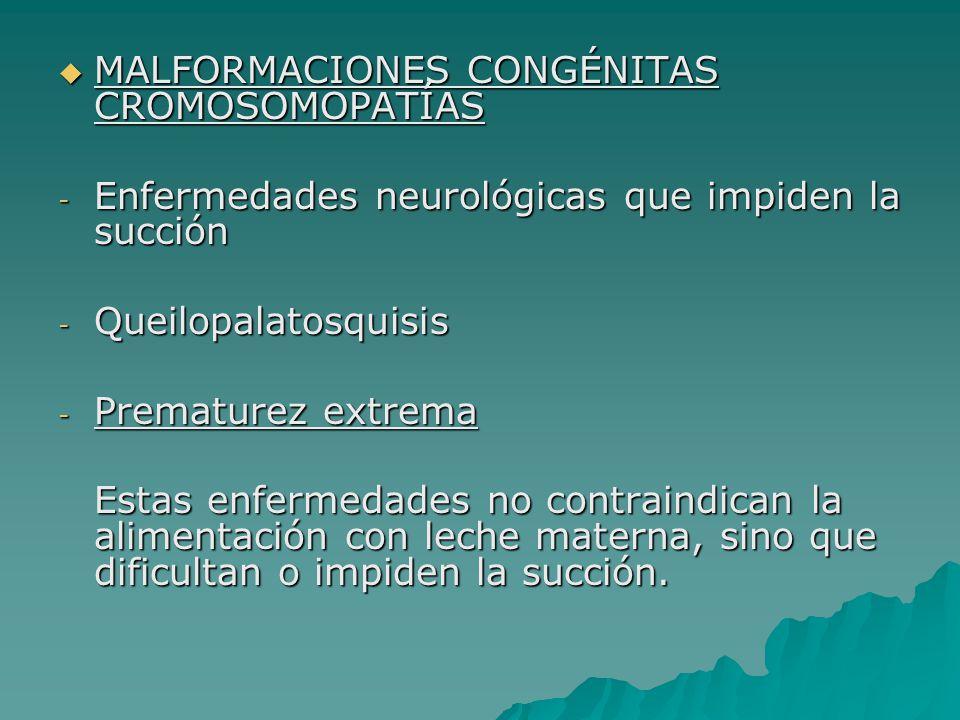 MALFORMACIONES CONGÉNITAS CROMOSOMOPATÍAS MALFORMACIONES CONGÉNITAS CROMOSOMOPATÍAS - Enfermedades neurológicas que impiden la succión - Queilopalatos